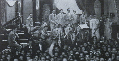Image of Benny Goodman & His Orchestra at the Steel Pier, Atlantic City, New Jersey on 29th May 1938.