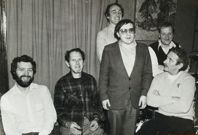 Image of L-r. Dave Green, Jimmy Knepper, Alastair Robertson, Pete Jacobsen, Ron Parry, Bobby Wellins at Wave Studio, Twickenham on 19th November, 1980.