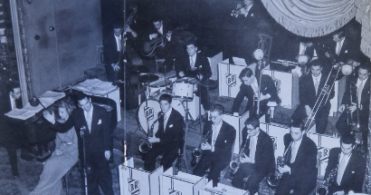 Image of The Buddy Rich orchestra at the Arcadia Ballroom N.Y.C. April 1947.