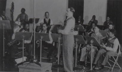 Image of The Cab Calloway Band at the Columbia (Okeh) Records Studios, NYC in 1941.
