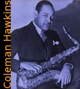 Image of Coleman Hawkins with saxophone.