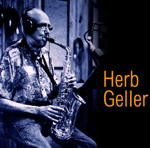 Herb Geller playing sax in the recording studio.